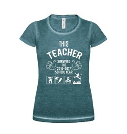 T-shirt this teacher survived school year 2016-2017 met the floor is lava voor de juf