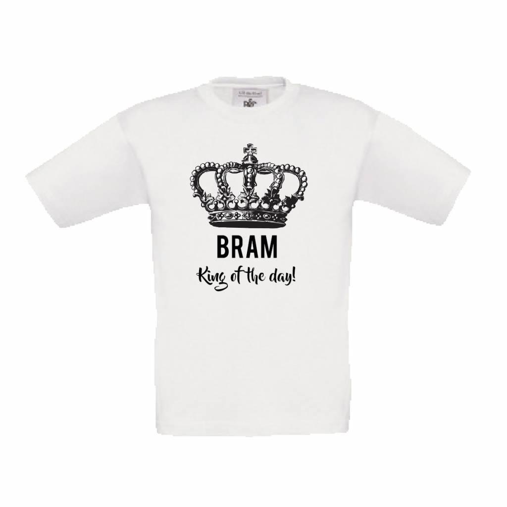 Koningsdag t-shirt king of the day met naam