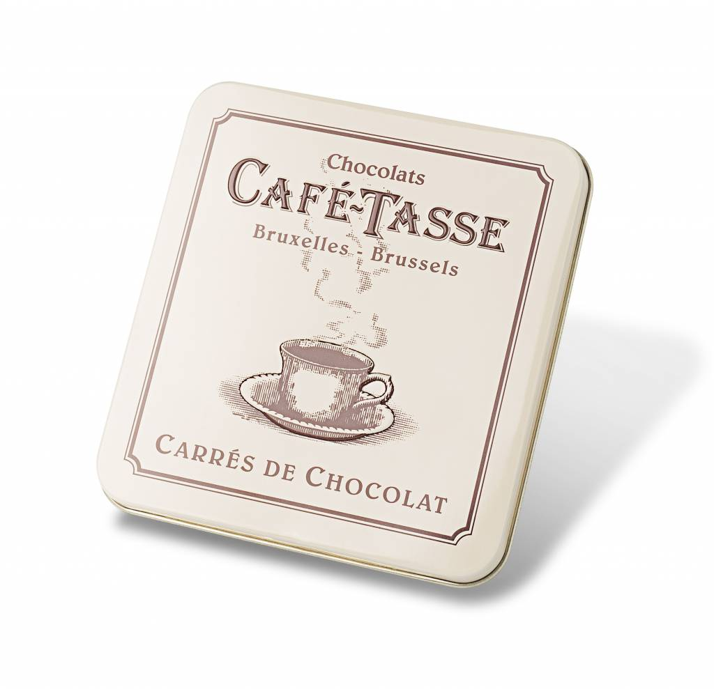 caf tasse metal box with assorted chocolate squares. Black Bedroom Furniture Sets. Home Design Ideas