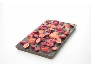 SJOKOLAT A bar of dark chocolate with a mix of red fruits