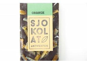 SJOKOLAT A bar of dark chocolate with orange