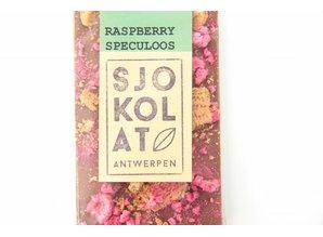 SJOKOLAT Tablet melkchocolade met speculoos en framboos