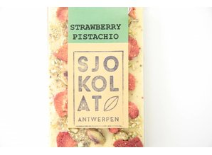 SJOKOLAT A bar of white chocolate with strawberry and pistachio nuts