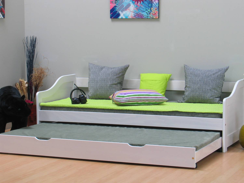 wit tienerbed inclusief onderschuifbed en lattenbodems. Black Bedroom Furniture Sets. Home Design Ideas