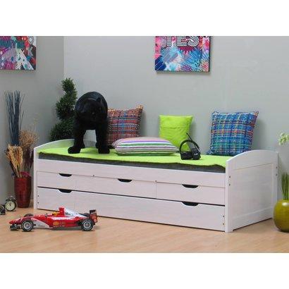 Tienerbed bedbank ulli met laden wit online meubels goedkope meubels - Tiener met opbergruimte ...