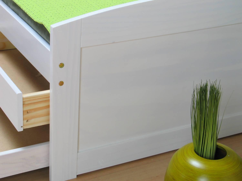 Tienerbed bedbank Ulli met laden wit   hioshop nl   online meubels   goedkope meubels