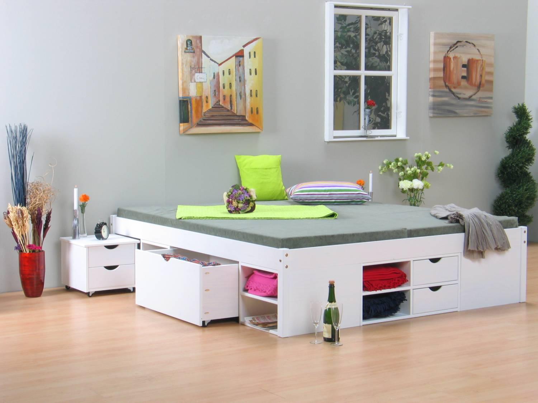 Wit bed tweepersoonsbed met royale bergruimte 180 x 200 online meubels goedkope - Tiener met opbergruimte ...