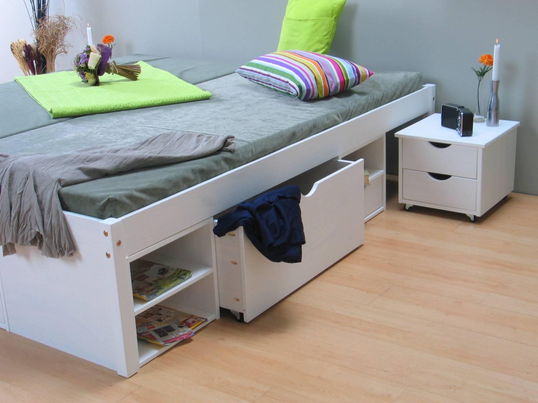 Eenpersoonsbed Met Opbergruimte : Wit bed tweepersoonsbed met royale bergruimte 180 x 200