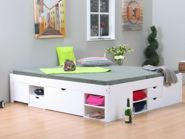 Home Slaapkamer Tweepersoonsbedden Wit bed tweepersoonsbed met royale ...