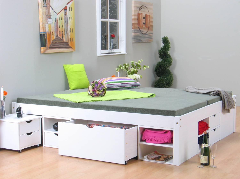 wit tweepersoonsbed met royale bergruimte 140 x 200. Black Bedroom Furniture Sets. Home Design Ideas