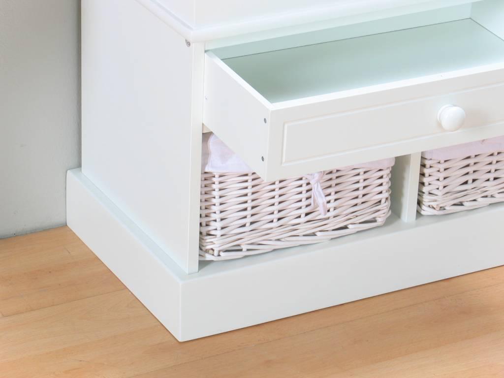 Halbank zitbank met manden welkom wit online meubels goedkope meubels - Hoogslaper met geintegreerde garderobe ...