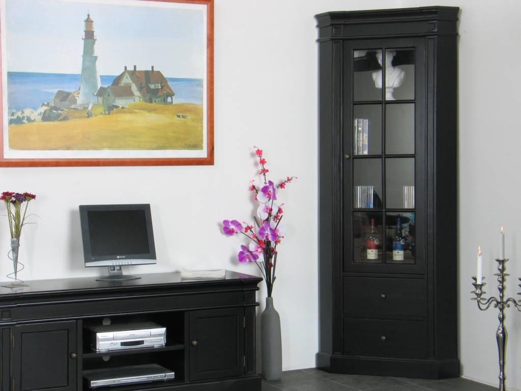 Hoekvitrinekast hoekkast zwart antiek patine barok mozart for Goedkope meubels