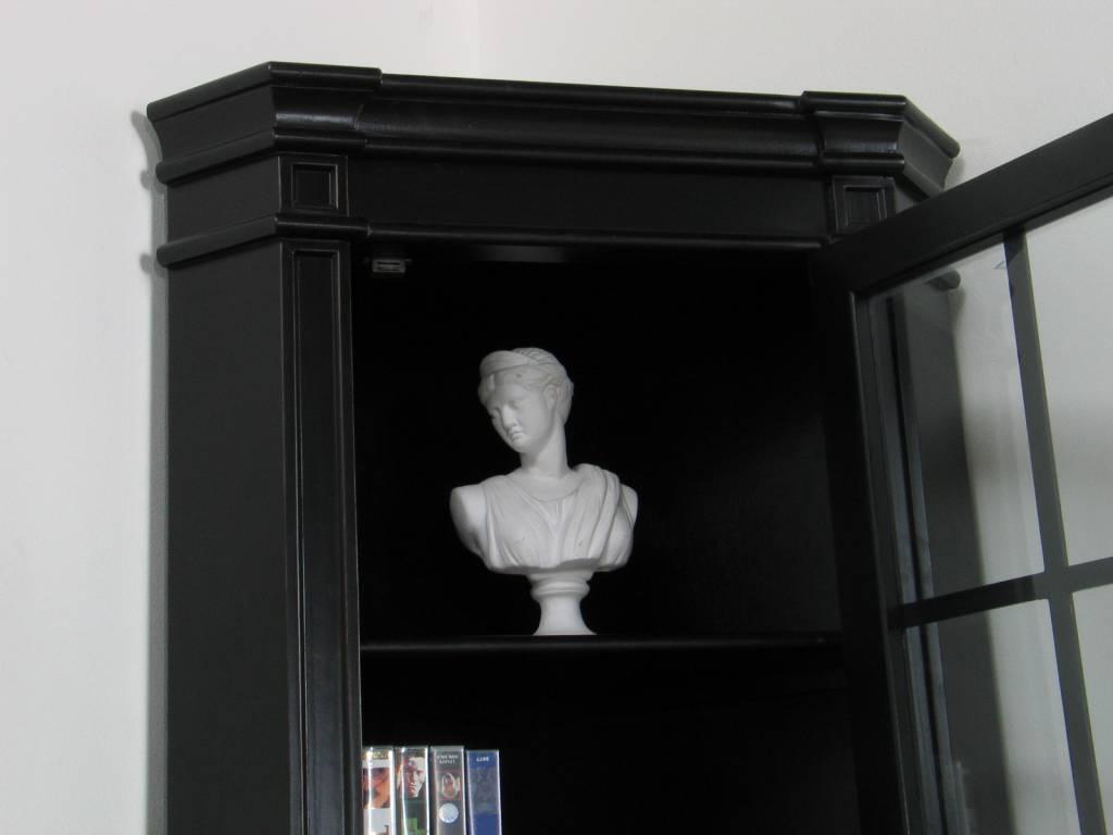 Hoekvitrinekast hoekkast zwart antiek patine barok mozart ...