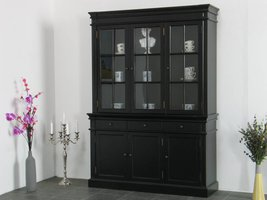 Winkelkast buffetkast vitrine met opzet antiek zwart massief hout Mozart