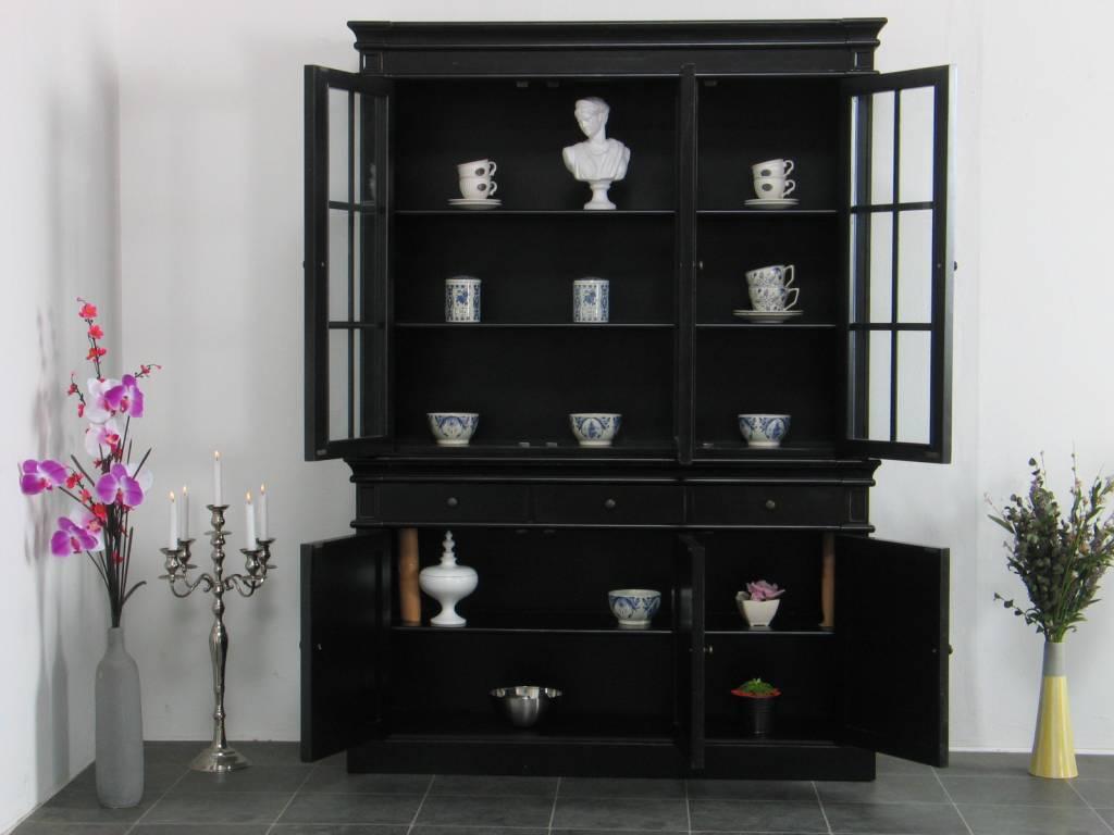 Winkelkast buffetkast vitrine met opzet antiek zwart massief hout ...