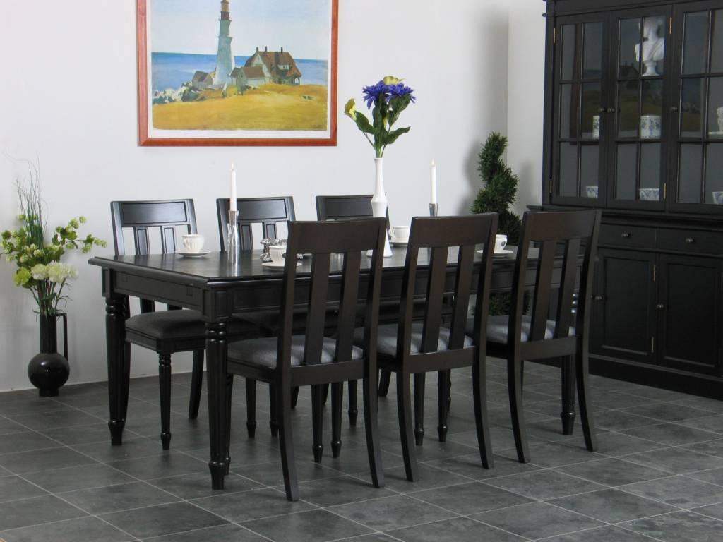Eethoek zwart eetkamer antiek barok Mozart tafel met 6 stoelen