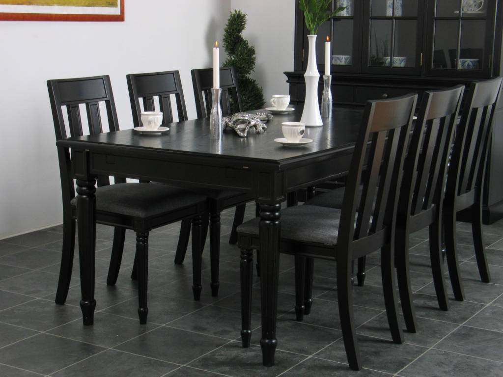 Home Eethoek zwart eetkamer antiek barok Mozart tafel met 6 stoelen