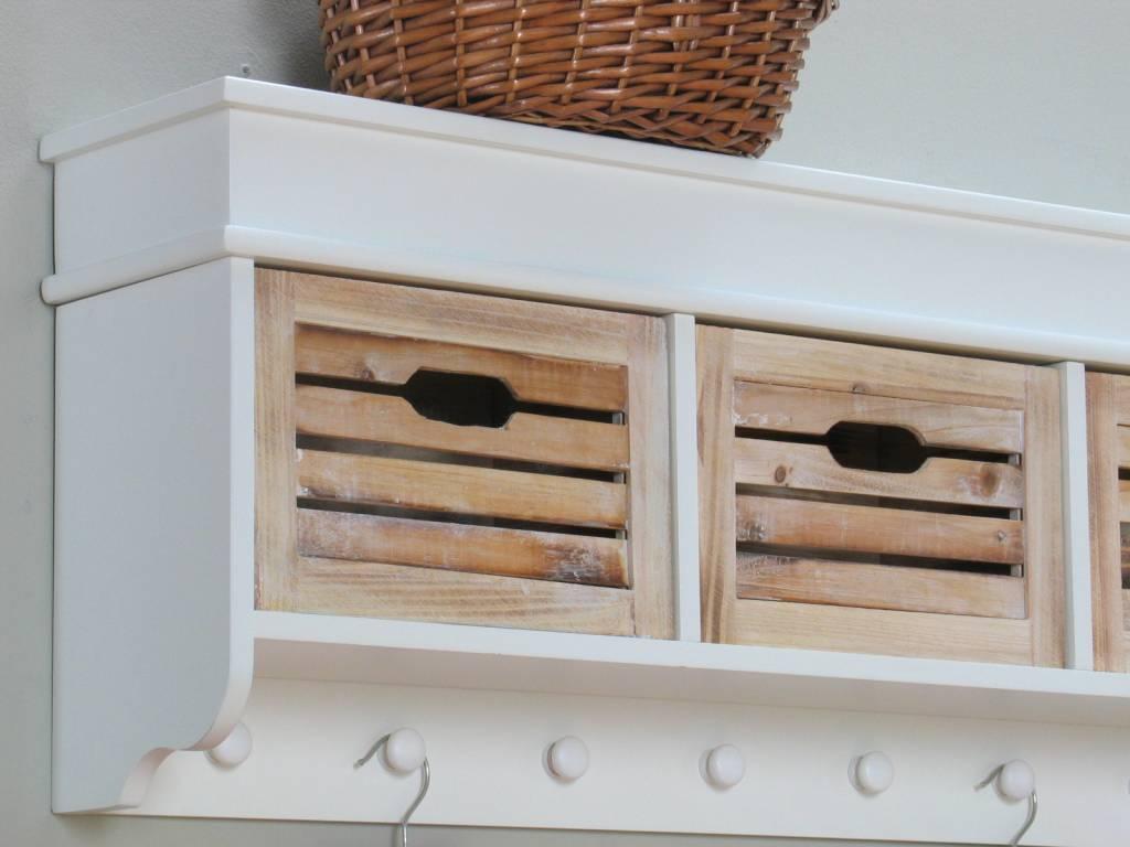 Home Hal Kapstokken Kapstok meubel wit met houten manden u0026#39;Welkomu0026#39;