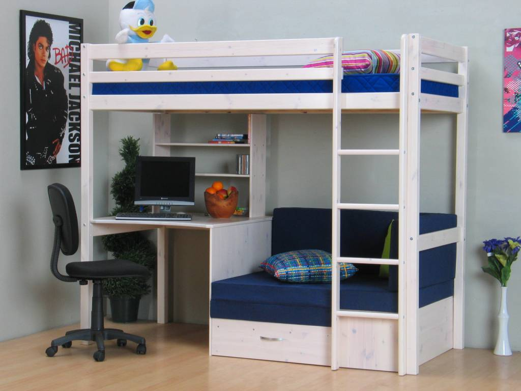 thuka hoogslaper wit met bureau bank en kussenset blauw thuka. Black Bedroom Furniture Sets. Home Design Ideas