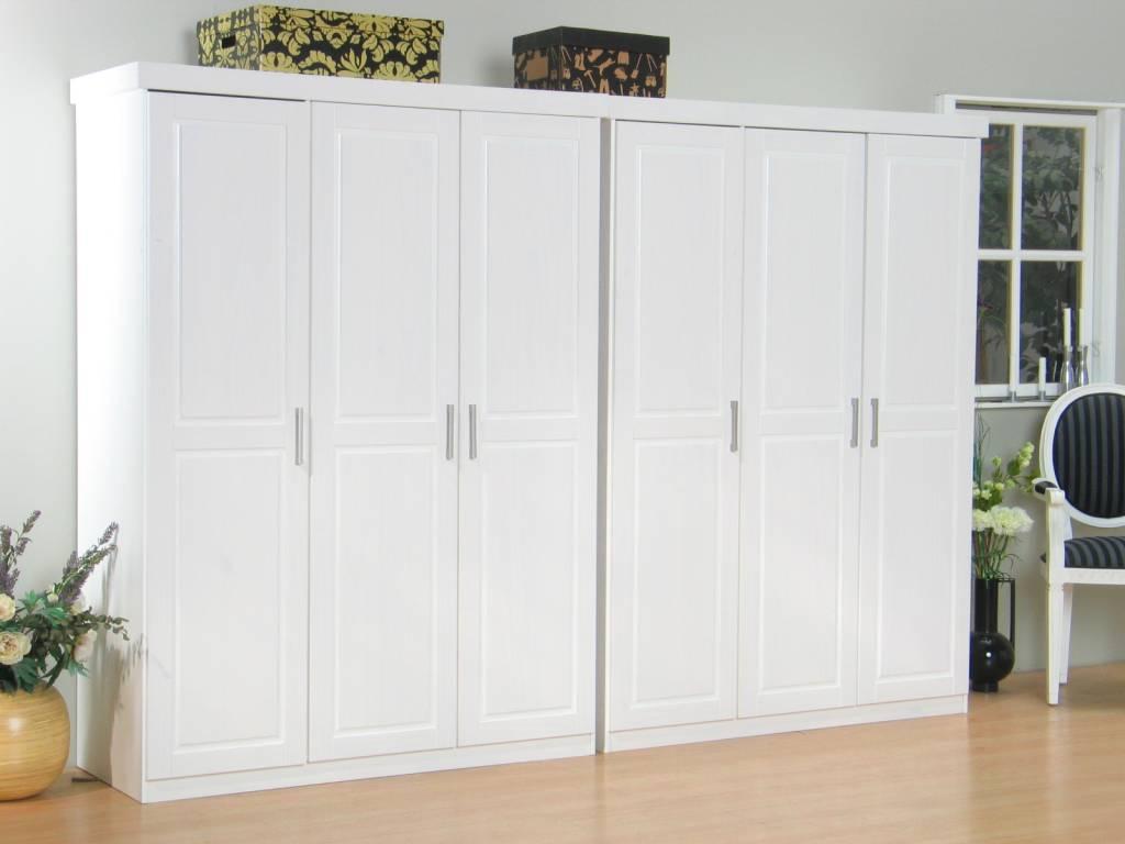 6 deurs kledingkast bestaande uit 2×3 drs kast Oslo wit   hioshop nl   online meubels   goedkope
