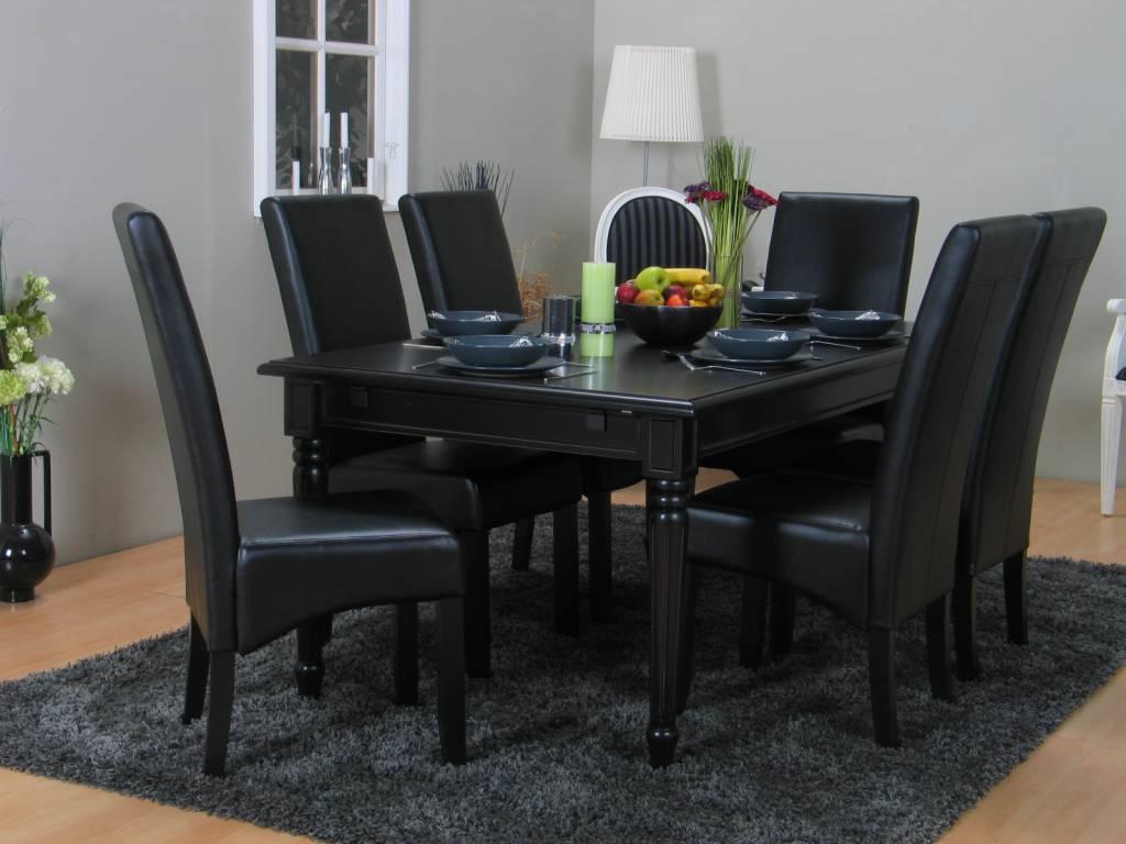 Eethoek zwart Mozart barok tafel met 6 zwarte stoelen
