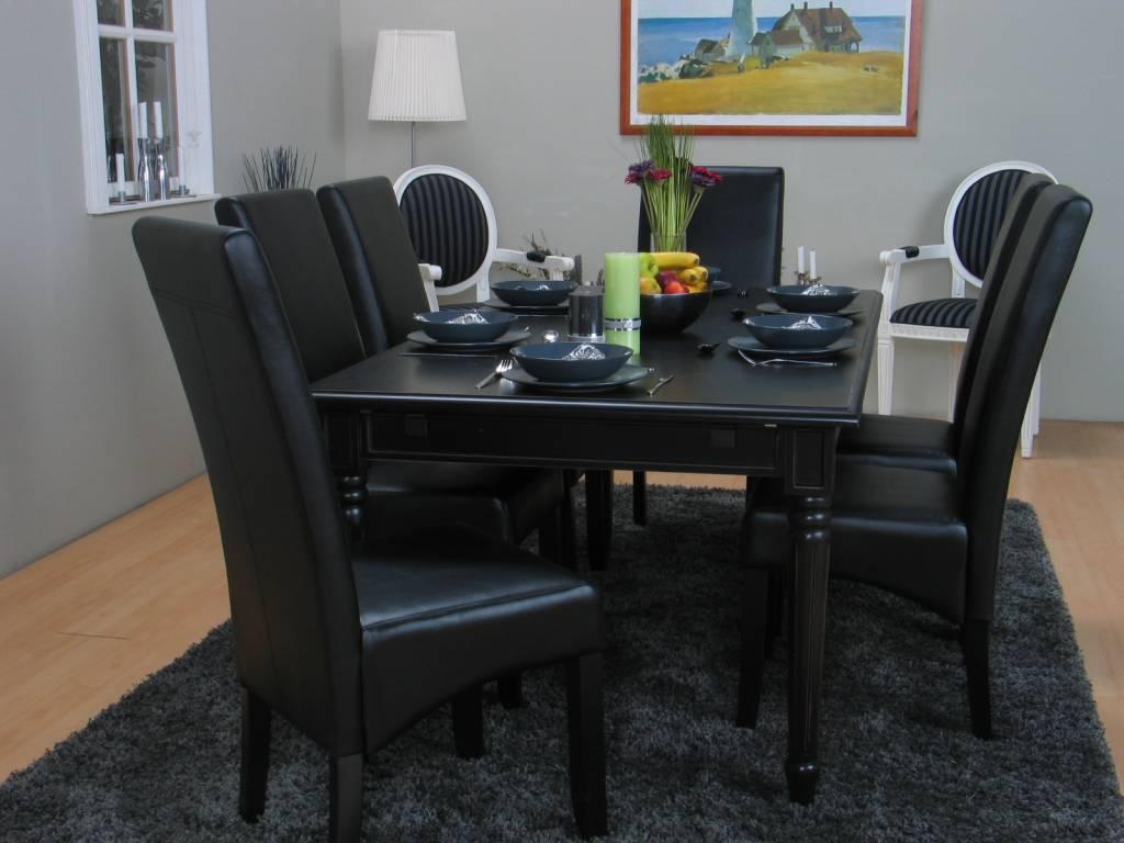 Eethoek zwart mozart barok tafel met 6 zwarte stoelen for Zwarte eettafel stoelen