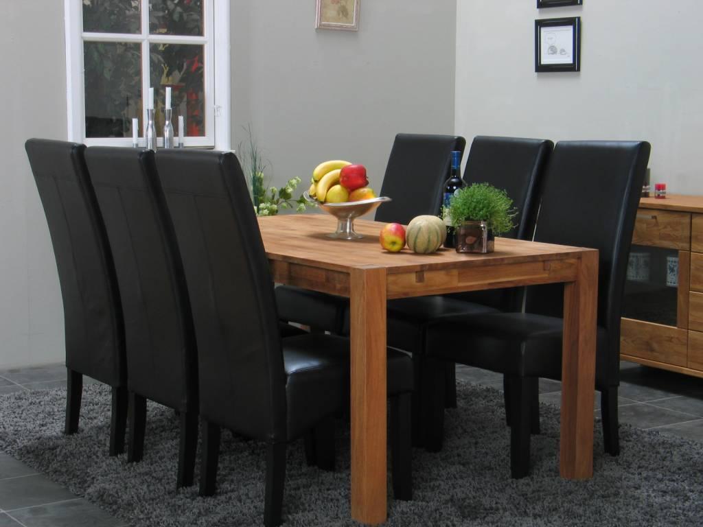 Eethoek Mark 90 x 180 met 6 zwarte stoelen   hioshop nl   online meubels   goedkope meubels