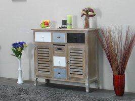 White wash dressoir van paulowniahout met twee deurtjes en vier lades