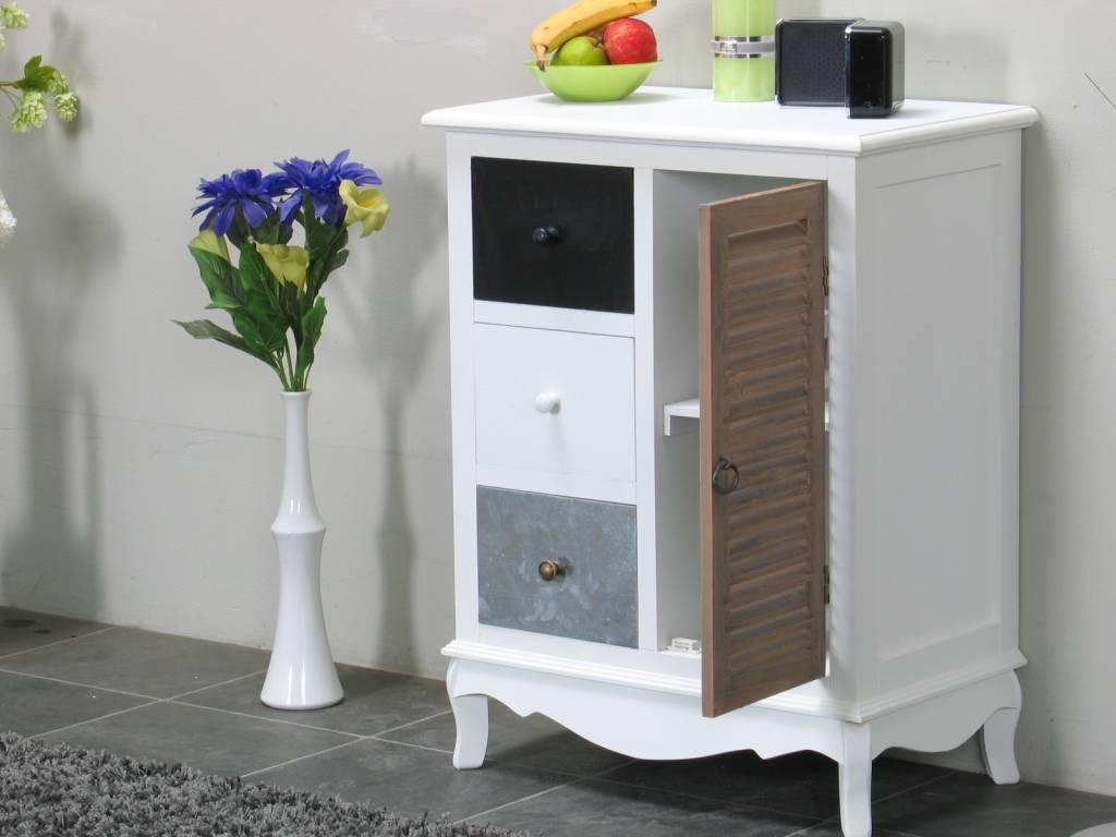 Wit Dressoir Slaapkamer : Dressoir met 3 lades en deur wit antiek ...