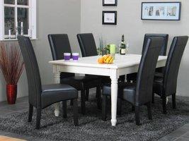 Eethoek Mozart tafel wit met 6 stoelen zwart Giessen