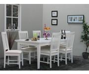 Eethoek Venetië wit ruime tafel met 6 eetkamerstoelen Tvilum