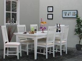 Tvilum Eethoek Venetië wit ruime tafel met 6 eetkamerstoelen