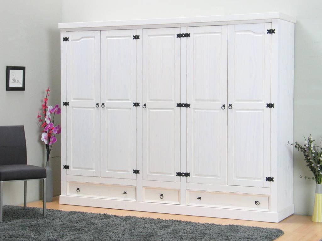 Grenen Slaapkamer Meubels : 5 deurs kledingkast wit new mexico