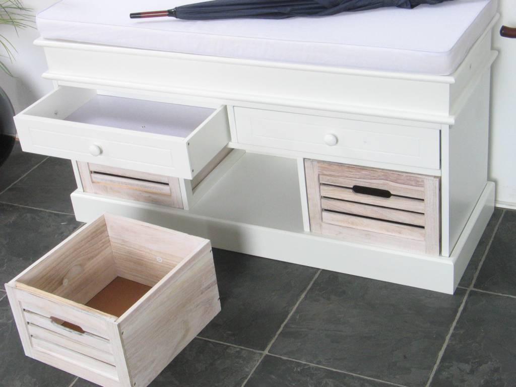 Halbank wit halbankje met houten manden 'welkom'   hioshop.nl ...