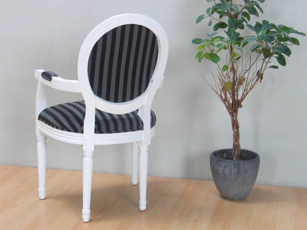 Witte stoel met armleuning rococo met zwart gestreepte for Goedkope witte stoelen
