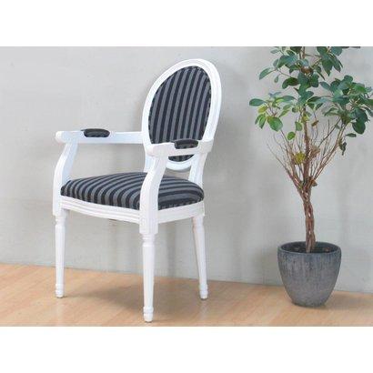 Witte stoel met armleuning rococo met zwart gestreepte for Witte eetkamerstoelen met armleuning