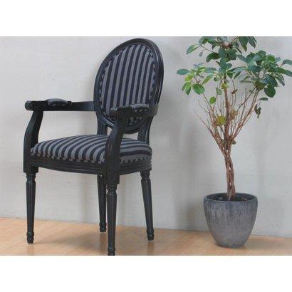 Stoel barok rococo zwart met zwart gestreepte bekleding for Barok stoel