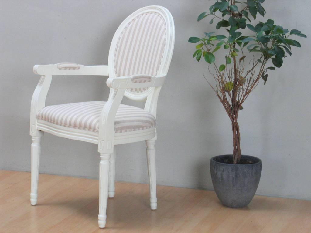 Rococo eetkamerstoel met armleuning antiek wit for Witte eetkamerstoelen met armleuning