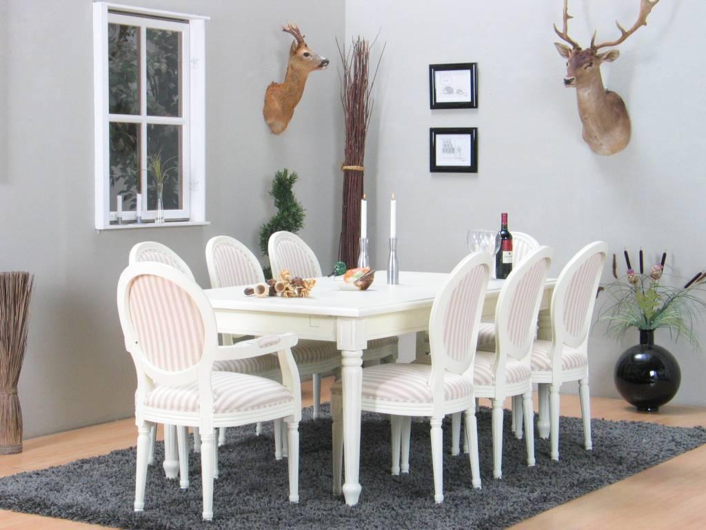 Eethoek mozart wit met 8 stoelen   hioshop.nl   online meubels ...