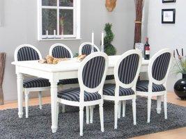 Mozart witte eethoek 180-280x100 cm met 6 Rococo stoelen