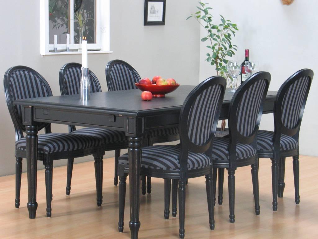 Mozart zwarte eettafel met 6 zwarte stoelen Rococo