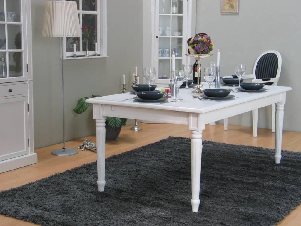 Mozart witte eethoek 180 280x100 cm met 6 rococo stoelen   hioshop ...
