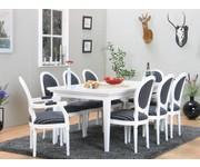 Venetië eethoek wit 180/276 x 95 met 6+2 barok stoelen wit-zwart Rococo