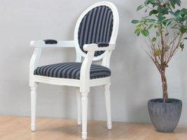 Cremewit barok stoel met armleuning Rococo met zwart gestreepte stof
