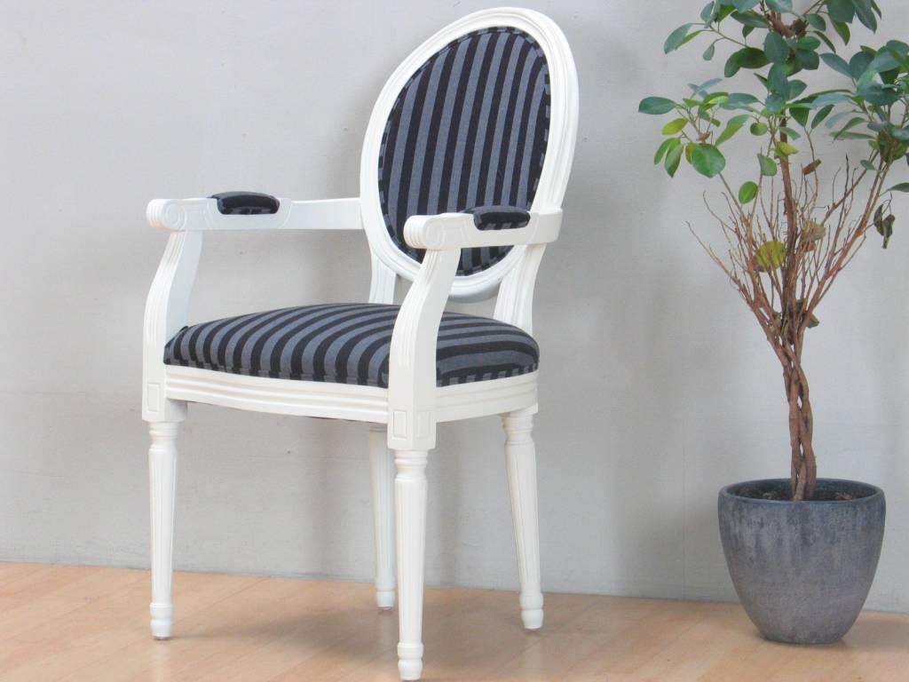 Cremewit barok stoel met armleuning rococo met zwart for Barok eetstoelen