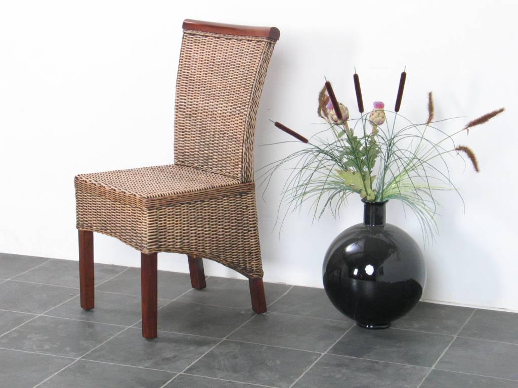 Rotan stoel bruin larissa met kussen for Rotan eettafel stoel