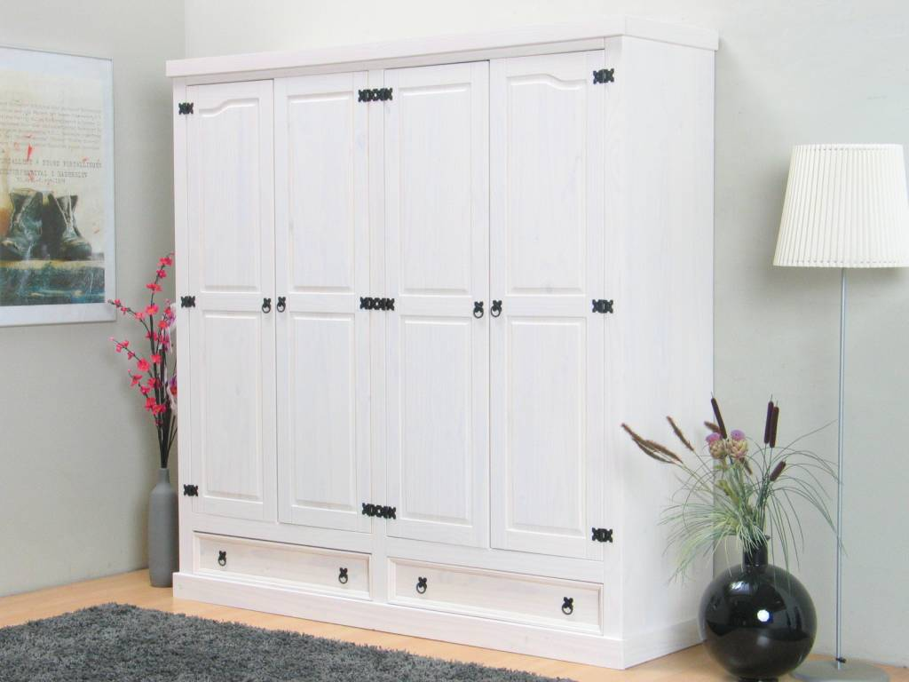 Witte kledingkast 4 deurs rico   hioshop.nl   online meubels ...