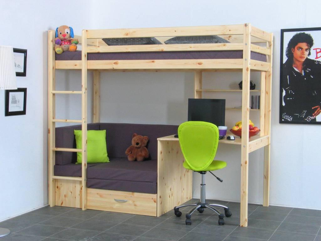Thuka hoogslaper met bank grenen met kussenset grijs thuka online meubels - Hoogslaper tiener met kantoor en opslag ...