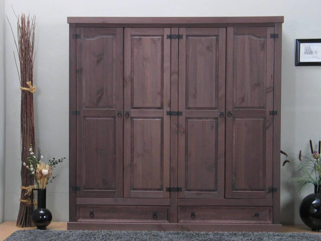 Bruine kledingkast 4 deurs new mexico online meubels goedkope meubels - Moderne kledingkast ...