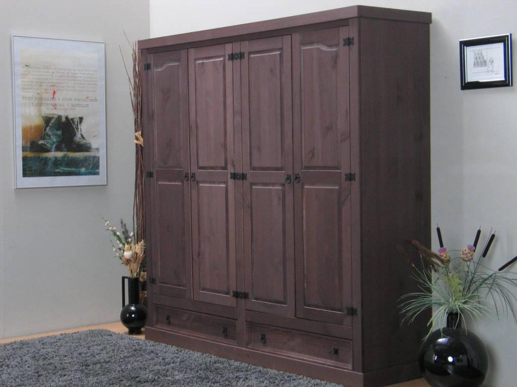 Bruine kledingkast 4-deurs New Mexico - hioshop.nl - online ...